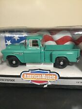 1/18 ERTL AMERICAN MUSCLE 1955 CHEVROLET 3100 STEPSIDE PICKUP TRUCK GREEN