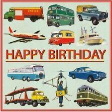 "Retro Vintage Multi coloured Transport ""Happy Birthday"" card 12.5x12.5cm"