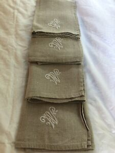 "4 Linen Napkins With ""W"" Monogram Tan Color"