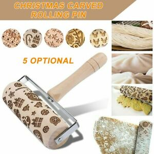 Embossed Rolling Pin Christmas Wooden Rolling Pins For Baking Cookies E&