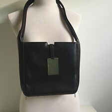 Genuine CELINE Dark Brown Leather Minimalist Rectangular Handbag Shoulder Bag