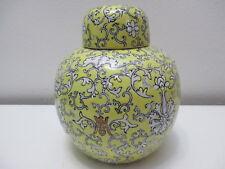 "Vintage Japanese Porcelain Ginger Jar Acf Decorated in Hong Kong Yellow 6 1/4"" T"
