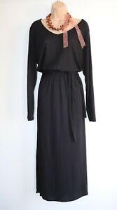 Women's Vintage GEORGE Long Sleeve Stretch Waist Maxi Black Jersey Dress UK22