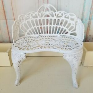 """Vintage Cast Iron Doll Garden Bench Plant Stand 12"""" Tall"""