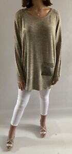 Malissa J Taupe Bling Pocket Long Sleeve Top, One Size