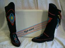 Vtg 80s Rush Hour Black Suede Hippie Native Fringe Boots Aqua Red Trim Box 6 1/2