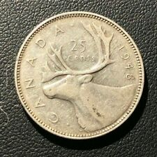 VF+1948 Canadian Quarter 25 Cents Silver Coin. KEY DATE!