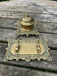 Vintage Brass Ink Well With Brass Pen Stand Holder Rest