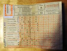 RESGUARDO QUINIELA 1981