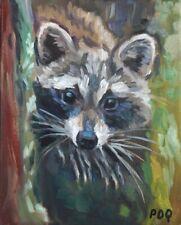 Artist PDQ Original Oil Painting Wildlife Raccoon Artwork Canvas Impressionism