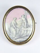 UNUSUAL ANTIQUE ENGLISH 9K GOLD GRISAILLE ENAMEL BROOCH CUPID'S BOW BEING BROKEN