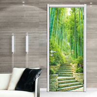 3D Bamboo Stone Steps Road Self-Adhesive Bedroom Door Mural Sticker Home Decor