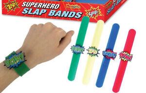 6 Super Hero Snap Bracelets - Pinata Toy Loot/Party Bag Fillers Kids Slap Band