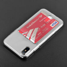 For Apple iPhone X - TRANSPARENT CLEAR CREDIT CARD SLOT HOLDER ULTRA THIN CASE