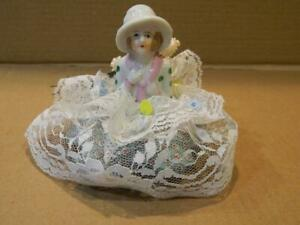 Porcelain Woman Half Doll Pin Cushion Lace & Silk Bouquet Vintage