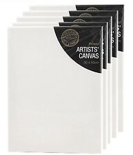 Pack of 5 Blank White Primed Artists Canvas With Wooden Frame 30 x 40cm x 1.7cm