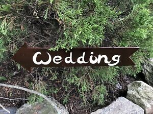 Brown White Wedding Arrow Hanging Sign For Rustic Fall Weddings
