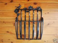 Wrought Iron French Wall Mounted Magazine Rack Brass color