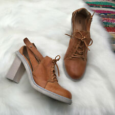 Anthropologie Schuler & Sons Block Heel Lace Up Bootie US 6 B Tan Cut Outs