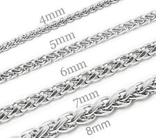 "6""-36"" Men's Women's Stainless Steel Necklaces Wheat Chains Bracelets Fast Ship"