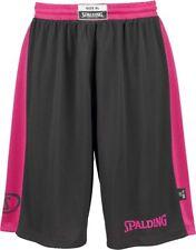 Spalding Basketball Mens Essential Reversible Shorts Light Mesh Black Pink