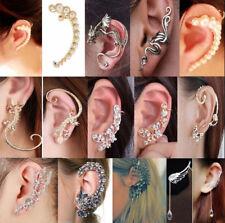 Gothic Punk Crystal Clip Ear Cuff Stud Wrap Cartilage Earring Women Jewelry