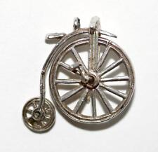"""Moving Penny Farthing Bicycle Sterling Silver Vintage Charm signed """"BI Silver"""""""