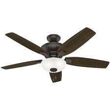 """Hunter Kenbridge 52"""" Ceiling Fan with LED Light Kit and Pull Chain, Nobel Bronze"""