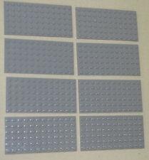 LEGO LOT OF 8 NEW LIGHT BLUISH GREY 6 X 12 DOT PLATES PLATFORMS BUILDING BLOCKS