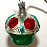 Christmas Ornament Glass FRUIT Apple Basket  Red Green RANA'S USA SELLER