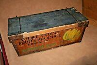 "Vintage West Coast Fruit & Produce Co. 34.5"" Long Wooden Banana Box w/ Lid"