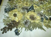 "CODELLO SILK SCARF FLORAL & POWDER HORNS LARGE 35"" X 34.5"" MINT COND HAND SEWN"