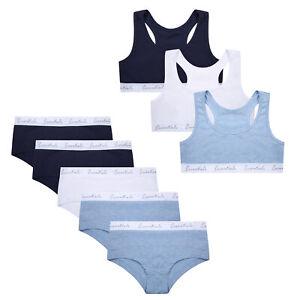 Girls Hipsters Crop Top Set Underwear Bra Top Plain Cotton Rich Size 6-15 Years