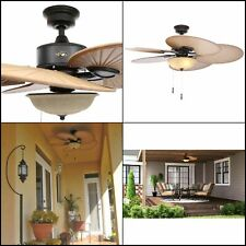 Hampton Bay Havana 48 in. LED Indoor/Outdoor Natural Iron Ceiling Fan Light Kit