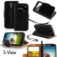 Samsung Galaxy S4 Cover schwarz Hülle S View Stand Handy  Case Tasche Touch neu