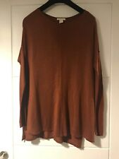 H&M Rust Brown Exposed Hem Detail Oversized Jumper Sz Small