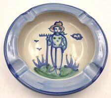 MA Hadley hand painted Art Pottery Country Scene Blue cigar ashtray Lady Farmer