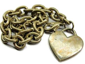 "7.25"" Charm Heart Patina 22.21g mark 925 Vintage Bracelet Sterling Silver"