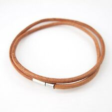"Silver Pewter Clasp 16"" 17"" inches 40cm 3mm Cord Brown Leather Choker Necklace"
