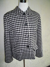 Collectible Liz Claiborne Hounds Tooth Black And White 4 Button Jacket