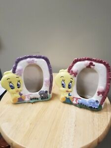 Vintage Warner Bros Looney Tunes TWEETY BIRD Ceramic Picture Frames