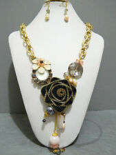 Gold Chunky Metal Chain Necklace Zipper Charm Flower Crystal Real Pearl Earrings