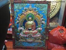 Tibet Buddhism  Wood Carved Painted Tathagata Sakyamuni Buddha TangKa Screen