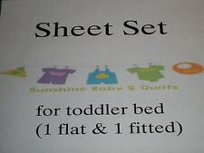 3 piece Sheet set for toddler bed (1 flat & 1 fitted and 1 pillowcase)