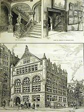 Hughson Hawley ART INSTITUTE of CHICAGO MICHIGAN & MUNROE St. 1888 Print Matted