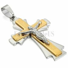 Men Stainless Steel Double Layer Silver Gold 2 Tone Cross Jesus Pendant Necklace