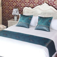 Blue Peacock Feather Bed Runner Pillowcase Double Layer Bedding Set Hotel Decor