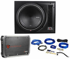 """Rockford Fosgate Punch P1-1X12 12"""" 500W 4-Ohm P1S4-12 Subwoofer+Box+Amp+Wire Kit"""