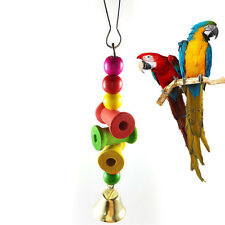Parrot Pet Bird Chew Bite Toy Wooden Bell Cage Swing Toys Cockatiel Parakeet New
