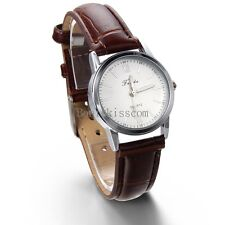 Brown Leather Band Quartz Analog Elegant Classic Casual Ladies Girls Wrist Watch